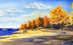 Autumn on Presque Isle <br> 14 x 5.5